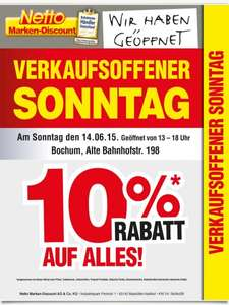 (netto ohne Hund / lokal) 10% Rabatt  am 14.06.15 - Gültig in Bochum, Alte Bahnhofstr.