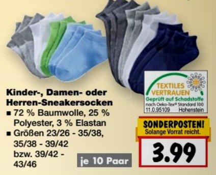 [KAUFLAND] KW25 10 Paar Kinder-, Damen- oder Herren-Sneakersocken Gr.23-46 für 3,99€