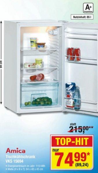 [METRO] Amica VKS 15694W 85L A+ 110kWh/Jahr Kühlschrank statt 215,-