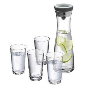 [ebay WOW] WMF Wasserkaraffe 1,0 l schwarz Basic + 4 Gläser 0,25 l für 23,95 Euro