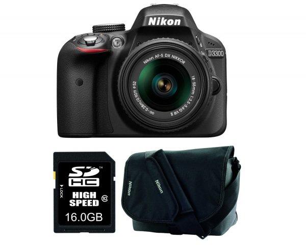 [Amazon Blitzangebot] Nikon D3300 SLR-Digitalkamera (24 Megapixel, 7,6 cm (3 Zoll) TFT-LCD-Display, Live View, Full-HD) Amazon-Kit inkl. 18-55mm VR II Objektiv/16GB SDHC-Speicherkarte/Kameratasche schwarz