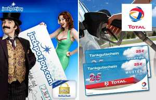 10€ zahlen (an QypeDeals) + 10€ einsetzen (bei jackpotjoy.com) = 50€ Tankgutschein erhalten (für Total)