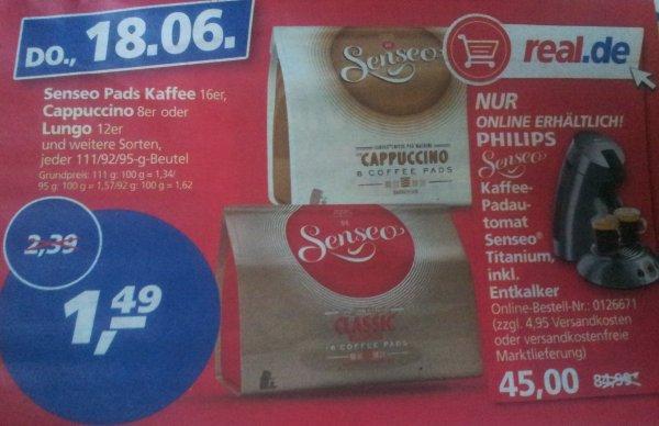 [Lokal Real] Senseo Pads Kaffee 16er,Cappuccino 8er, oder Lungo 12er