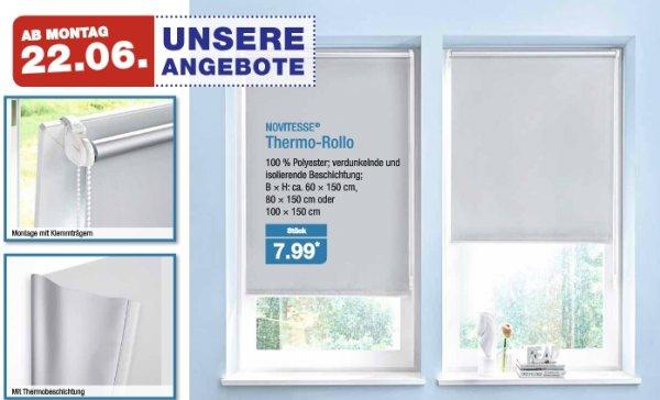[Aldi-Nord] Thermo-Rollo in 60, 80 oder 100cm Breite (Montage mit Klemmträger) ab 22.06.2015 für 7,99€