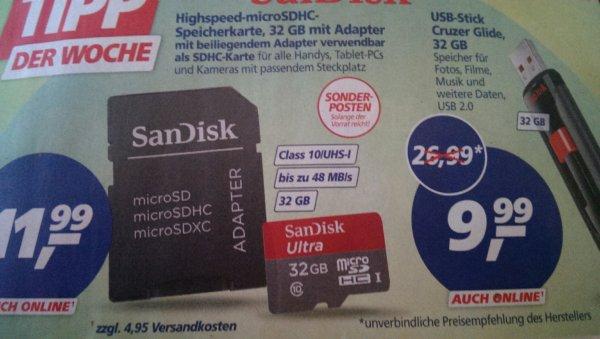 [Real]  Sandisk Cruzer Glide 32Gb Usb 2.0 Stick €9.99 // Sandisk Ultra MicroSdhc 32GB Class 10 €11,99