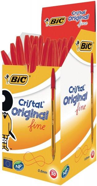 50x BIC Kugelschreiber Cristal fine, mit Kappe, 0.35mm, rot nur 6,04 € @ Amazon Marketplace