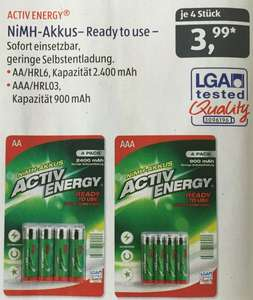 [ALDI SÜD ab 25.6.15] ACTIV ENERGY® NiMH-Akkus - Ready 2 use!