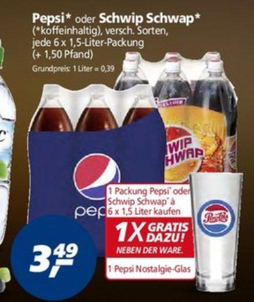 Pepsi,7 UP, Schwip Schwap Sixpack für 3,49€ kaufen + Pepsi Glas kostenlos (0,39€ pro Liter ) [REAL - Bundesweit]