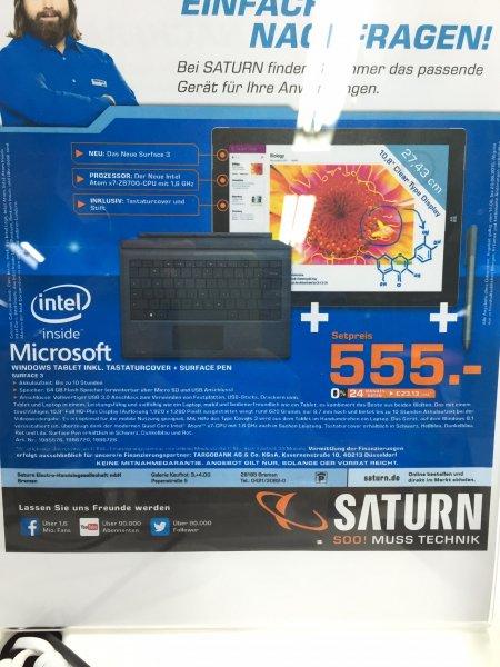 [Saturn Bremen] Surface 3 mit Tastatur und Stift im Bundle