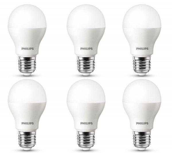 Philips LED Lampe ersetzt 40 W E27 2700 Kelvin, 5,5 W, 470 Lumen, 6-er Pack, warmweiß 8718696449516 [Energieklasse A+] für 27,95 € > [amazon.de] > Prime