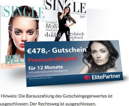 Trendy Single für 1 Jahr (24,-Euro) -> ein Jahr Elite Partner kostenlos *keine Kündigung notwendig*