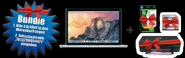 [CH -Melectronics] NUR NOCH HEUTE! MacBook Pro 128 GB Bundle inkl. Drucker, Patronen und 128 GB SD
