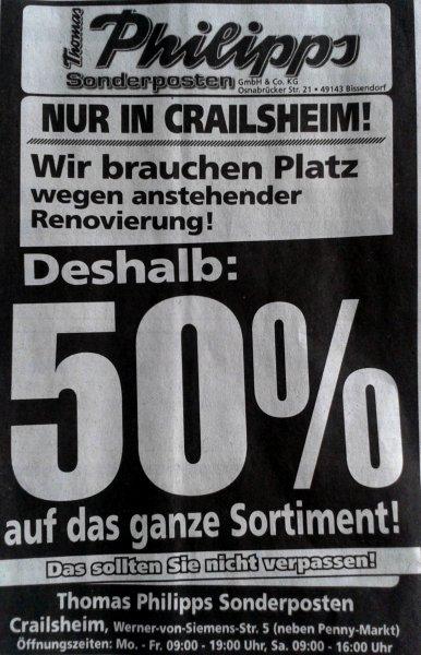 [LOKALCrailsheim]  Thomas Philipps 50% auf alles