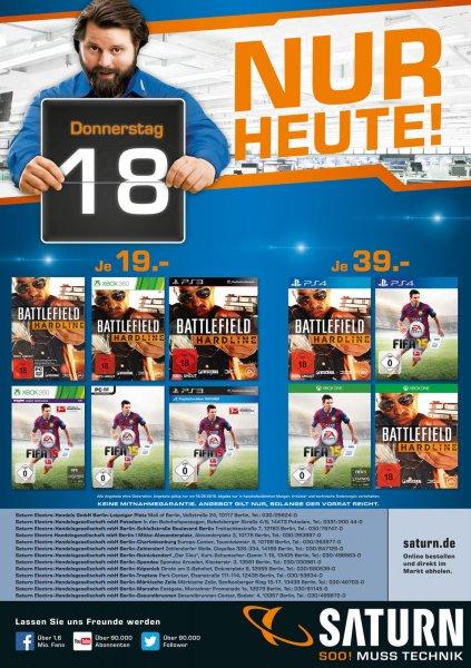[Lokal Saturn Berlin/Potsdam] Fifa 15 und BF:Hardline für 19€(PC/PS3/360) 39€(PS4/One) - nur am Donnerstag
