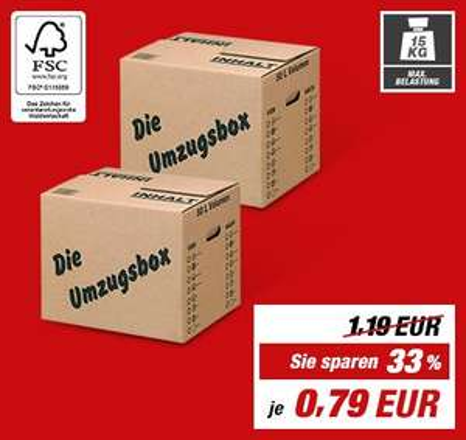 Toom-Baumarkt: Umzugskarton (50 l) ab 23.05. für 79 Cent