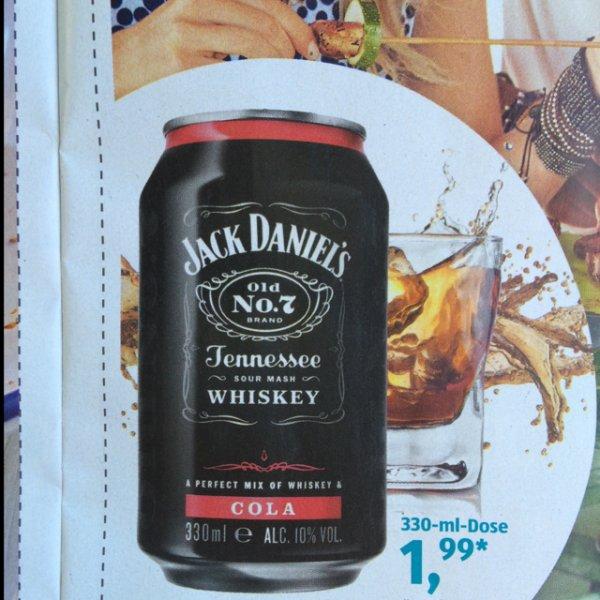 Jack Daniel's Cola 330ml Dose für 1,99€ ab Samstag 27.6. [ALDI Süd]