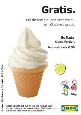 IKEA: kleines Softeis gratis  Im Juli & August 2015