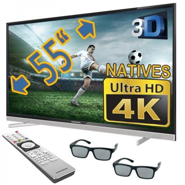 Grundig 55 VLX 8481 WL (55 Zoll) 3D Ultra HD, 600 Hz, DVB-T/-C/-S2 Empfänger, HbbTV, WLAN, Internetfähig für 649,99€ @ebay