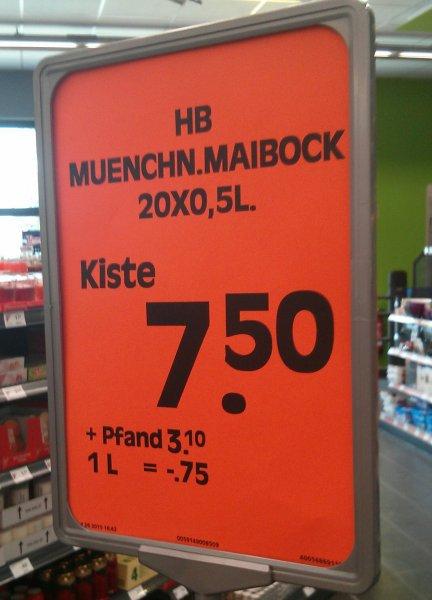 [Edeka Lokal Unterhaching] Hofbräu Maibock Starkbier Kasten (20x0,5l) für 7,50 Euro