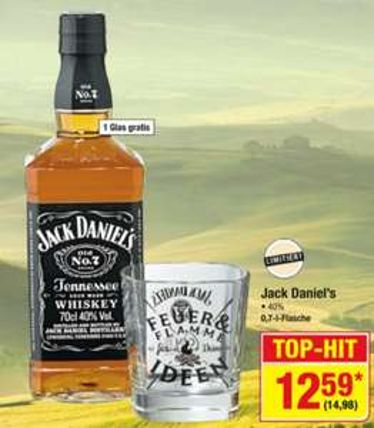 [METRO] Jack Daniel's 0,7l inkl. Glas für 14,98€ brutto ab Do. 25.06.