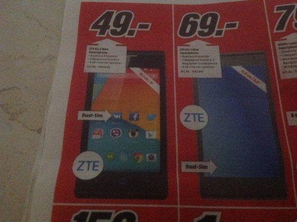 Media Markt ZTE Dual- Sim  Kis 2 Max Lokal Bayern