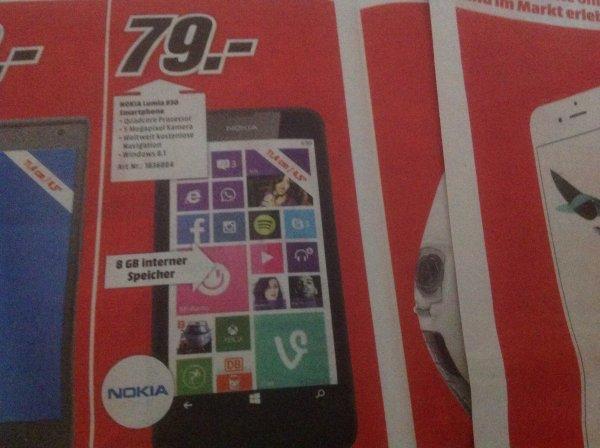 Media Markt Bayern :Lumia 630 von Nokia für 79€