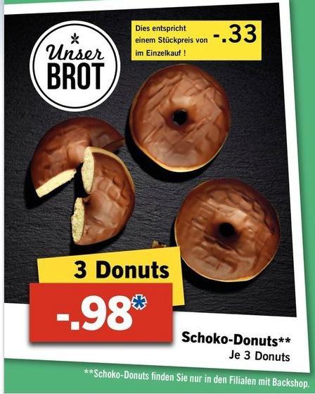 [LIDL bundesweit] 3x Schoko Donut für 98Cent! - Ab 25.06.2015