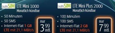 winSIM 50 Min + 50 SMS + 1 GB LTE für 3,99€