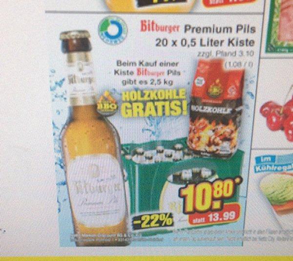 Bitburger 20x0,5l für 10,80€+2,5 Kg Grillkohle Gratis.Ab dem 22.6 beim Netto ohne Hund.