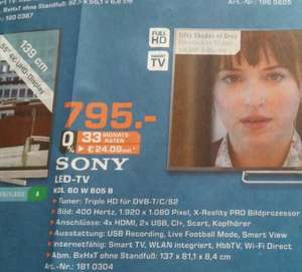 [Lokal] Saturn Berlin Steglitz Boulevard Sony KDL60-W605B [60 Zoll, FullHD, 400Hz: nativ 100Hz) geringer Inputlag für Gamer 795€