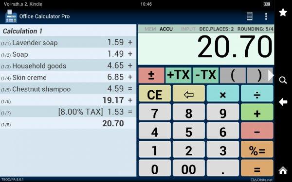 [Amazon/Android] Office Calculator/Taschenrechner Pro für 0,00 EUR statt 1,59 EUR!!
