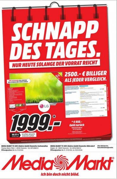 [Lokal Chemnitz] LG 65UF9509 65 Zoll UHD TV für 2.449€ + 450€ Cashback über LG möglich als Schnapp des Tages @ MediaMarkt Chemnitz