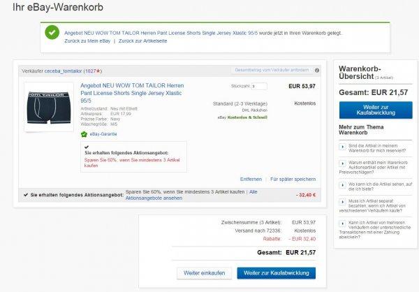 60% Rabatt & keine Versandkosten beim Kauf von mind. 3 Tom Tailor Boxershorts (UVP=17,99€)