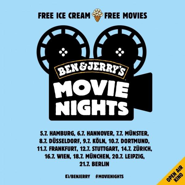 """Kostenloses Ben & Jerry's-Eis und """"free movies"""" in diversen Städten (auch A & CH)!"""