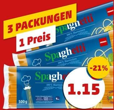 Penny 3 Packungen Spaghetti =1 Preis. 1,15€ = -21%