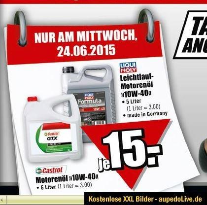 [B1 Baumarkt] Motorenöl 5Liter je 15 Euro, Castrol GTX 10W 40 oder Liqui Moly Leichtlauf-Motorenöl 10W 40 nur am Mittwoch 24.06.2015