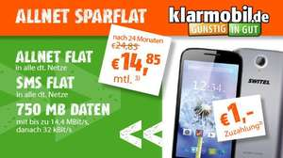 Klarmobil Allnet Sparflat + SMS Flat + 750MB + Smartphone Switel Victory + 32GB microSD Karte für 14,85€ mntl. im D-Netz