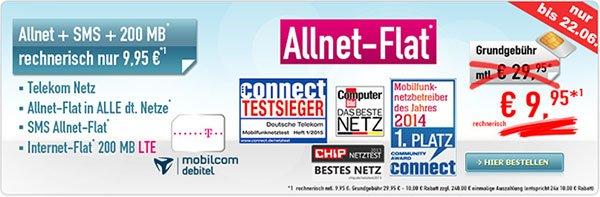 MD Telekom Allnet-Flat + SMS-Flat + 200MB Internetflat für rechn. 9,95 Euro im Monat