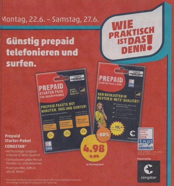 [Penny] Congstar (D1) Prepaid Starter Pack mit 10€ Startguthaben für 4,98€ statt 9,99€