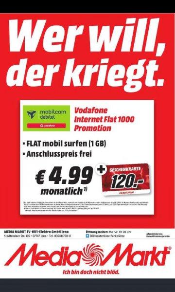 [lokal Jena MM] 1GB Daten-Tarif MD im Vodafone Netz mit 120 € MM Gutscheinkarte