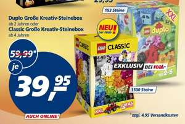 (Real) Lego Duplo große Kreativ-Steinebox und Classic große Kreativ-Steinebox für je 39,95 EUR