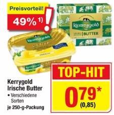 Kerrygold verschiedene Sorten 250g Packung für 0,85 € (brutto, also inkl. Steuer) @ Metro (25.06. - 01.07.)