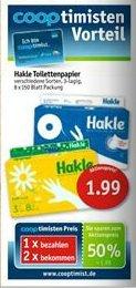 Sky-Supermärkte(Coop) Hakle Toilettenpapier 3 lagig 16x150 Blatt 1,99€ (Nur mit Cooptimisten Karte)