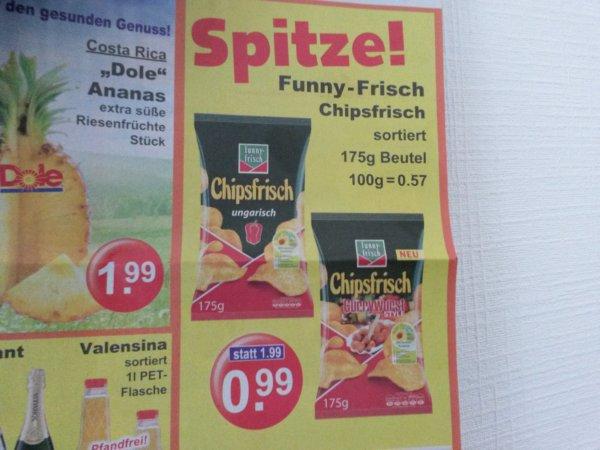 Funny Frisch Chips; 175g für 0,99ct bei K+K!