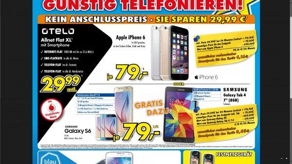 (Lokal) Brumberg bzw Euronics in Kamen/Menden. Iphone6 / Samsung S6 29,99mtl mit FLAT und 1gb 21,6mbit Internet