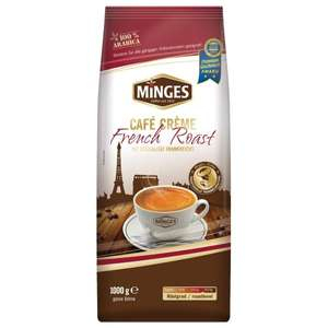 [Amazon Prime] Minges Café Crème French Roast, ganze Bohne, Aroma-Softpack, 1.000 g, 1er Pack (1 x 1 kg) für 8€