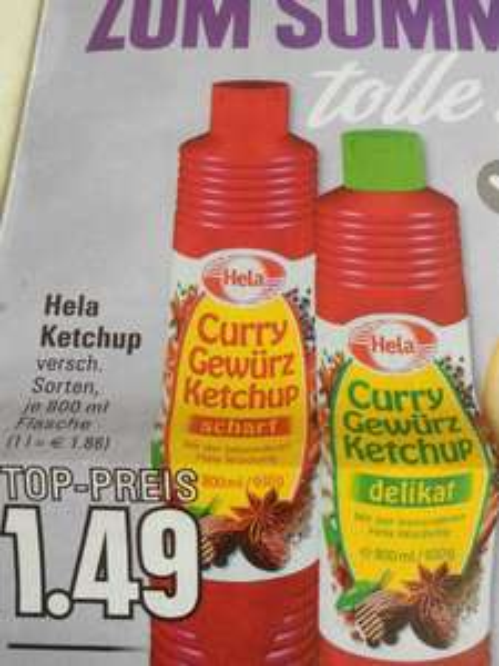 Edeka Rhein/ Ruhr Hela Ketchup 800 ml für 1,49€