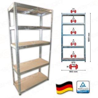 [versando.de] Schwerlastregal Steckregal Lagerregal 5 Böden 175kg/Boden + 500 Blatt Versando 80 High White Marken Kopierpapier 80g/m² DIN A4