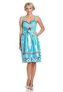 Stockerpoint Dirndl Tracht Kleid midi Damen mit Schürze 60 cm türkis, 47,99 EUR