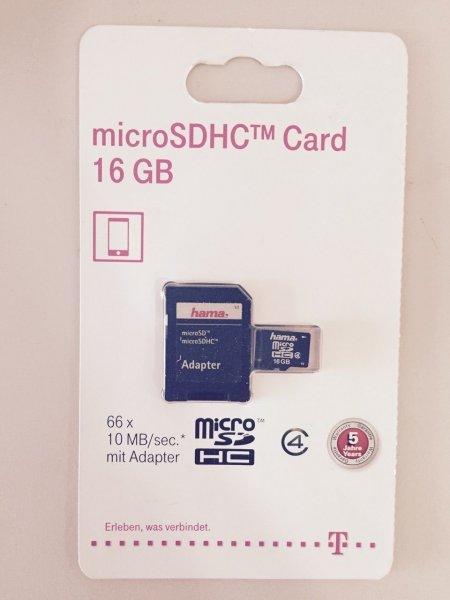 HAMA Micro SDHC Card 16GB mit Adapter für nur 4,99 EUR inkl. Versand